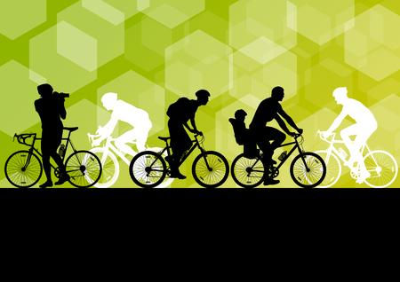 Illustration pour Active men cyclists bicycle riders in abstract sport landscape background illustration vector - image libre de droit