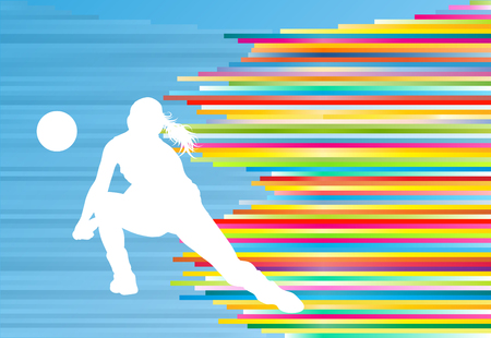 Photo for Volleyball player woman silhouette abstract vector background illustration - Royalty Free Image