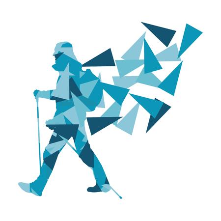 Ilustración de Hiking and nordic walking person vector background abstract concept made of polygon fragments isolated on white - Imagen libre de derechos