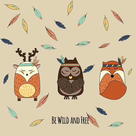 Boho animals in hand drawn style. Tribal owl, deer and fox with falling feathers inspirational vector illustration