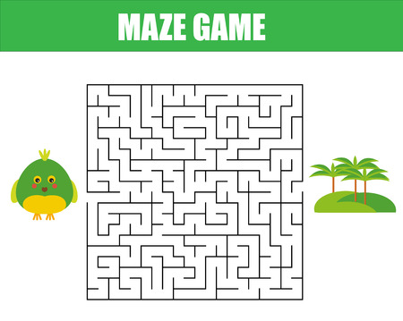 Illustration for Maze children game: help the parrot go through the labyrinth. Kids activity sheet. - Royalty Free Image