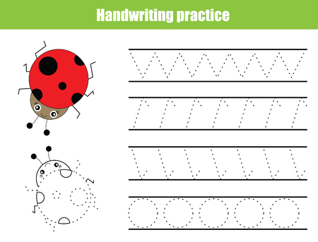 Illustration pour Handwriting practice sheet. Educational children game, tracing circles and zig zag. Writing training printable worksheet - image libre de droit