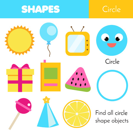 Illustration for Educational children game. Learning geometric shapes for kids. Circle - Royalty Free Image