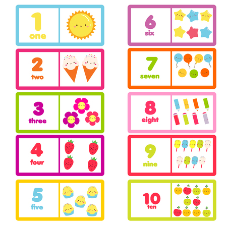 Ilustración de Count from one to ten. Educational card for children. learning material with funny characters and numbers for kids, toddlers - Imagen libre de derechos