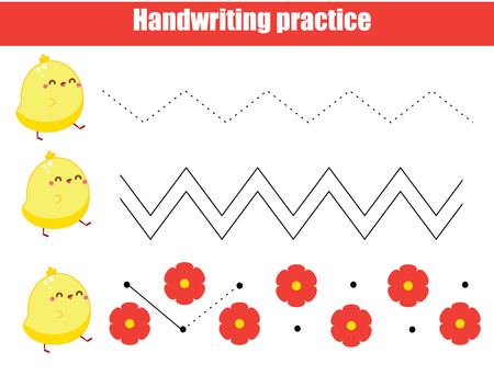 Ilustración de Preschool handwriting practice sheet. Educational children game. Printable worksheet for kids and toddlers. Draw zig zag - Imagen libre de derechos