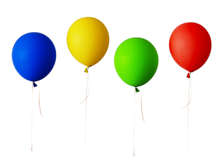 Photo pour Set of red, blue, green and yellow balloons isolated on white - image libre de droit
