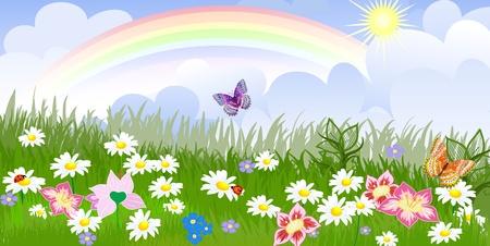 Illustration pour Panorama floral lawn - image libre de droit
