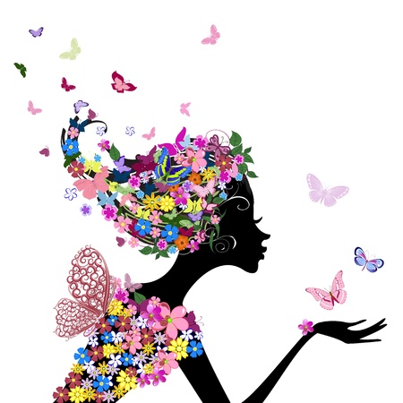 Foto per girl with flowers and butterflies - Immagine Royalty Free