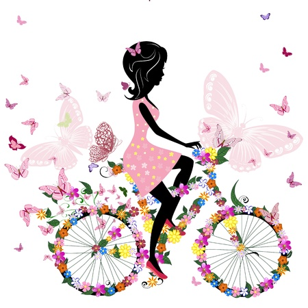 Photo for Girl on a bicycle with a romantic butterflies - Royalty Free Image