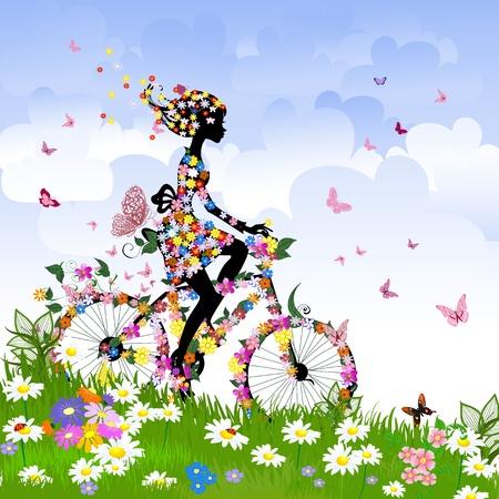 Illustration pour Girl on bike outdoors in summer - image libre de droit