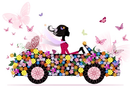 Photo pour girl on a romantic flower car - image libre de droit