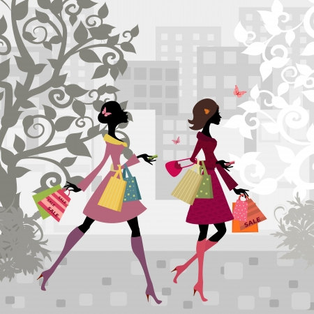Foto für Girls walking around town with shopping - Lizenzfreies Bild