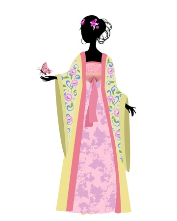 Illustration pour Chinese woman with a butterfly in traditional costume - image libre de droit