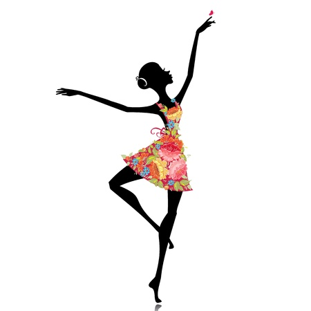 Illustration for ballerina in a flower dress - Royalty Free Image