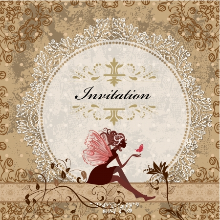 Illustration pour card design with vintage fairy - image libre de droit