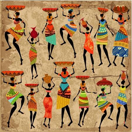 Ilustración de African woman on grunge background - Imagen libre de derechos