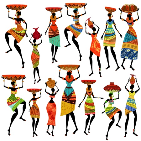 Illustration pour Silhouettes of beautiful African women - image libre de droit