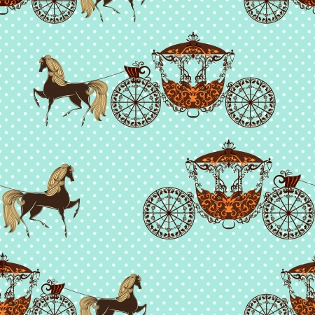 seamless texture with horses with carriage mural