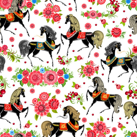 seamless texture with horses in flowers mural