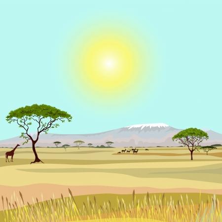 Illustration pour African Mountain idealistic landscape - image libre de droit