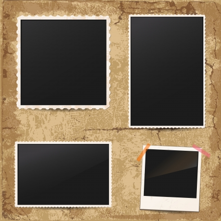 Illustration pour Set of vintage retro photo frames - image libre de droit