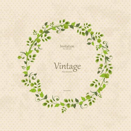Illustration pour invitation card with floral wreath   - image libre de droit