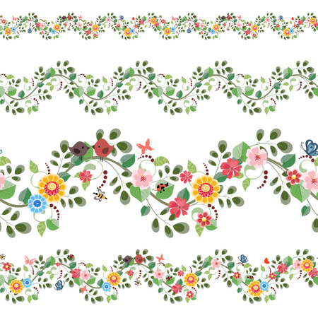 Illustration pour floral set seamless borders for your design - image libre de droit