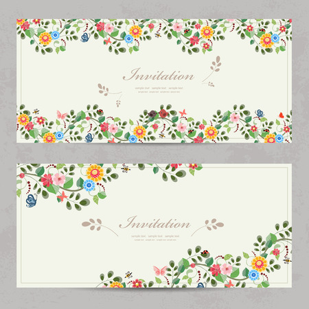 Ilustración de cute floral invitation cards for your design - Imagen libre de derechos