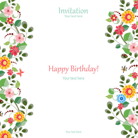 Illustration for invitation card with cute flowers for your design - Royalty Free Image
