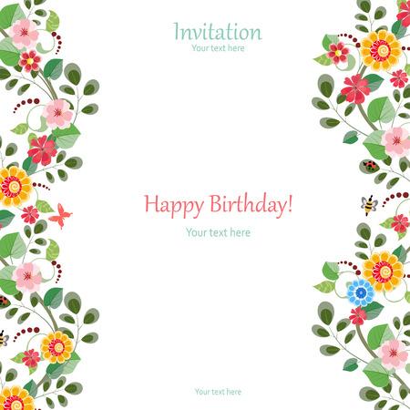 Ilustración de invitation card with cute flowers for your design - Imagen libre de derechos