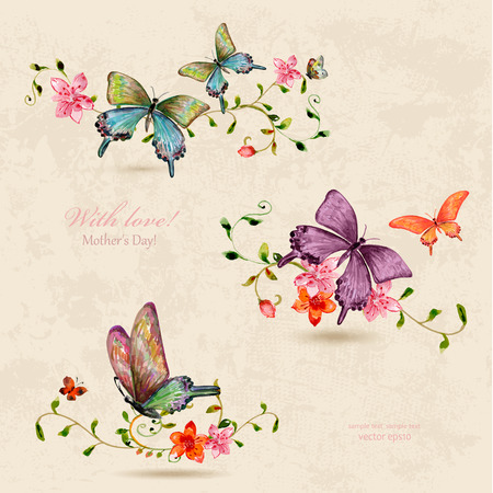 Photo for vintage a collection of butterflies on flowers. watercolor painting - Royalty Free Image