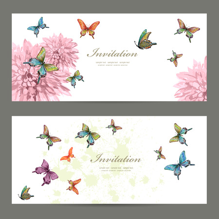 Ilustración de collection invitation cards with butterflies. watercolor painting - Imagen libre de derechos
