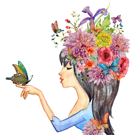Ilustración de beautiful girl with flowers on her head. watercolor painting illustration - Imagen libre de derechos