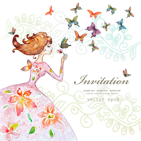 Illustration pour beautiful girl with butterfly. watercolor painting illustration - image libre de droit