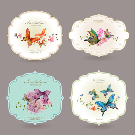 Photo for collection retro label with butterflies. watercolor painting illustration - Royalty Free Image