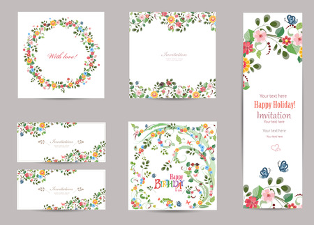 Ilustración de collection of greeting cards with cute flora for your design - Imagen libre de derechos