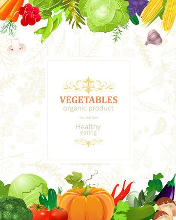 Ilustración de Banner with border of vegetables for your design - Imagen libre de derechos