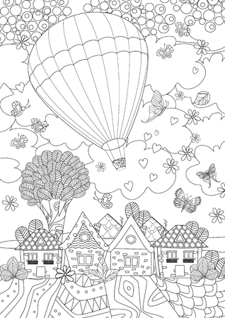 Illustration pour Hot air balloon in the sky above the cute city for your coloring book - image libre de droit