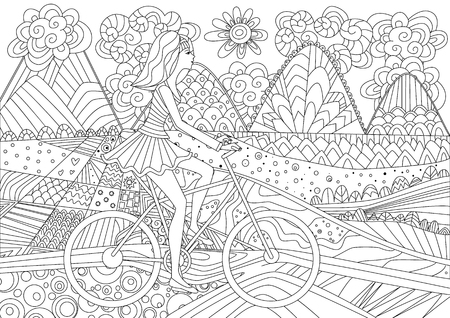 Illustrazione per Fashion girl is riding on a bicycle in mountain scenery for your coloring book - Immagini Royalty Free