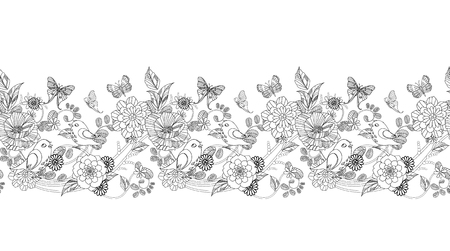 Illustrazione per graceful seamless floral border for your coloring book - Immagini Royalty Free