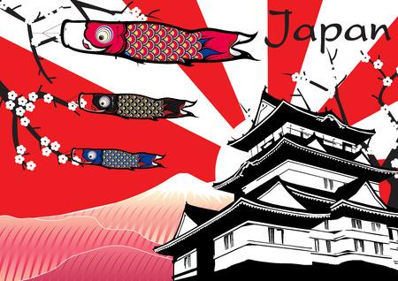 Illustration pour Japanese Castle with fish flag and fuji mountain vector - image libre de droit