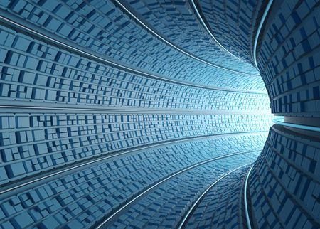 Inside a futuristic tube (tunnel) with light at the end of the curve.