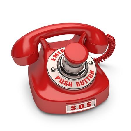 Foto de Red phone with emergency button. Push the button to call. - Imagen libre de derechos