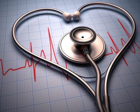 Photo for Stethoscope in shape of heart on a graph of the patient's heartbeat. - Royalty Free Image