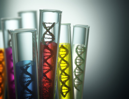 Foto de Test tube with dna inside. Concept of manipulation of the genetic code. Clipping path included. - Imagen libre de derechos