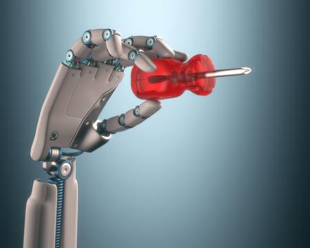 Foto de Robot hand holding a screwdriver on the concept of industrial automation.  - Imagen libre de derechos