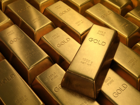 Foto de Gold Bars 1000 grams. Depth of field on the gold word. - Imagen libre de derechos