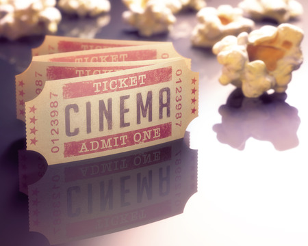 Photo pour Entry ticket to the cinema with popcorn around. - image libre de droit