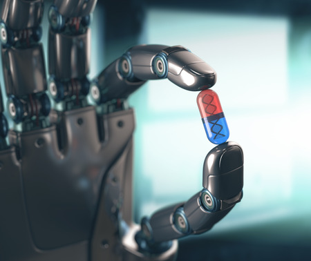 Photo pour Robotic hand holding a pill of DNA. Concept of the technology, dominated by machines. - image libre de droit