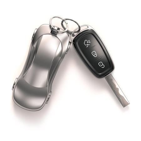 Foto de Key car and key ring over white background. Clipping path included. - Imagen libre de derechos